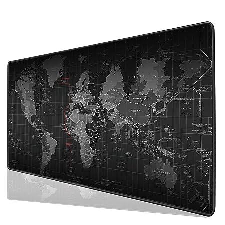 Halomy Gaming MausPad,Groß 80x30x0,2cm Schreibunterlage Weltkarte MausPad mit rutschfester Boden,doppelt gewebt Stoff Oberflä