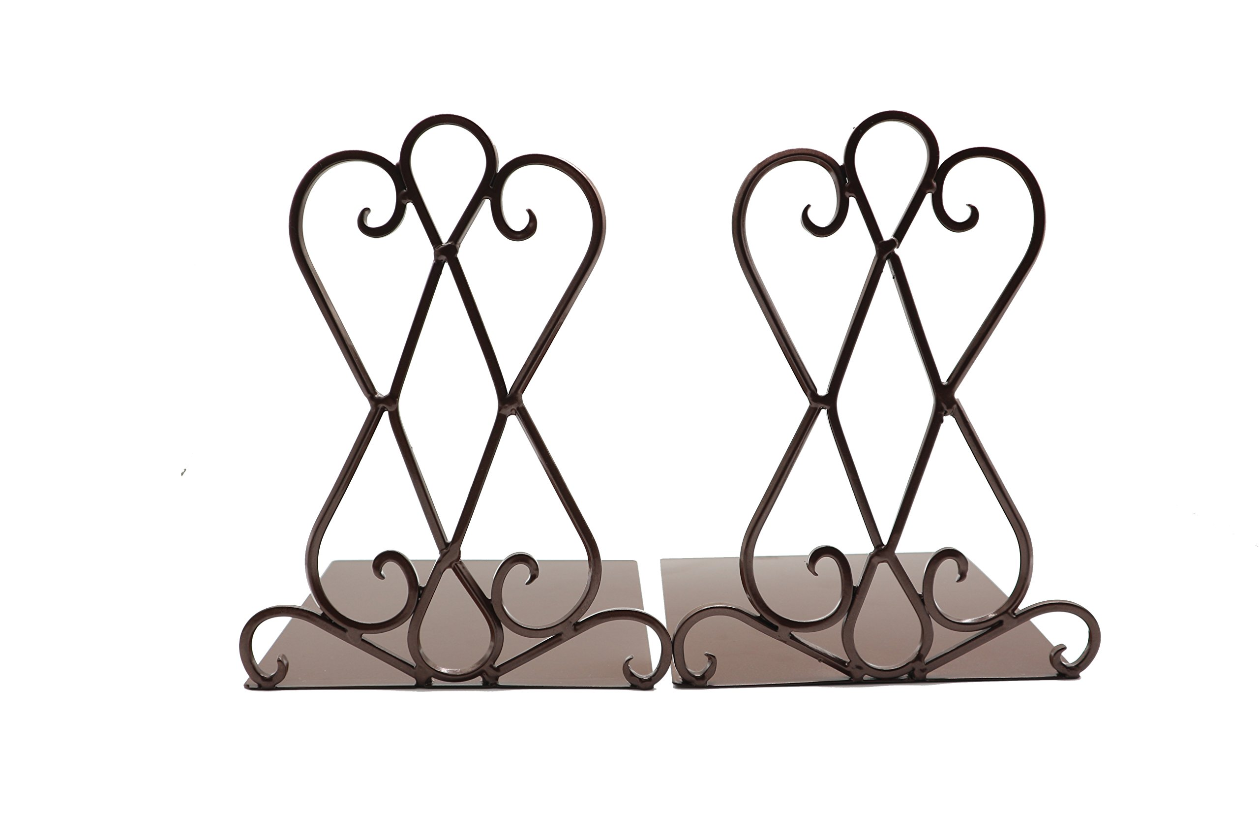 Y-H Vintage Retro Art Iron Bookend Shelf Book End Bookend Home Office School Decoration,1pair (Brown)