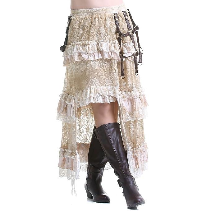 crazyinlove Mujer Falda larga con bolsillo negro Large: Amazon.es ...