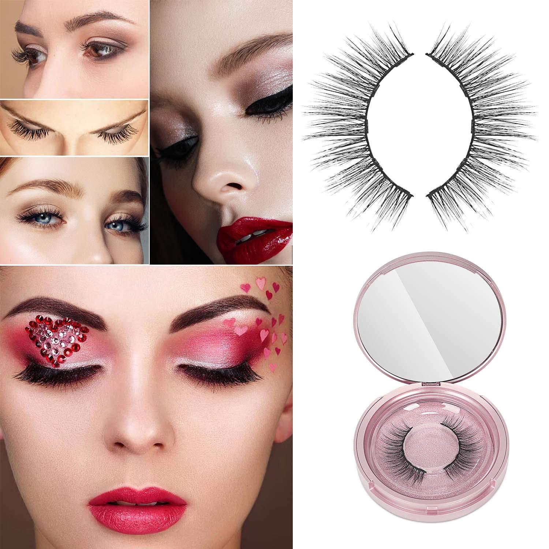 RORASA Magnetic Eyelashes with Magnetic Eyeliner Eye Makeup Lashes Kit Natural Look Magnetic Eyelashes Set (Pink)