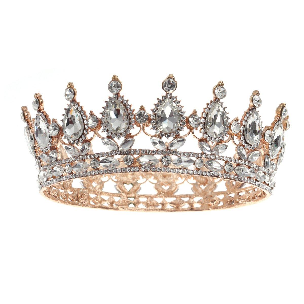 Frcolor Vintage Tiara Crown Crystal Rhinestone Pageant Queen Crown Tiara Hair Jewelry