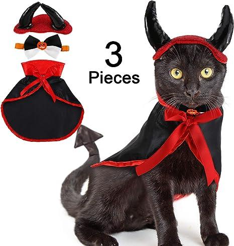 WILLBOND Set de 3 Disfraz de Gato Disfraz de Mascota de Halloween ...