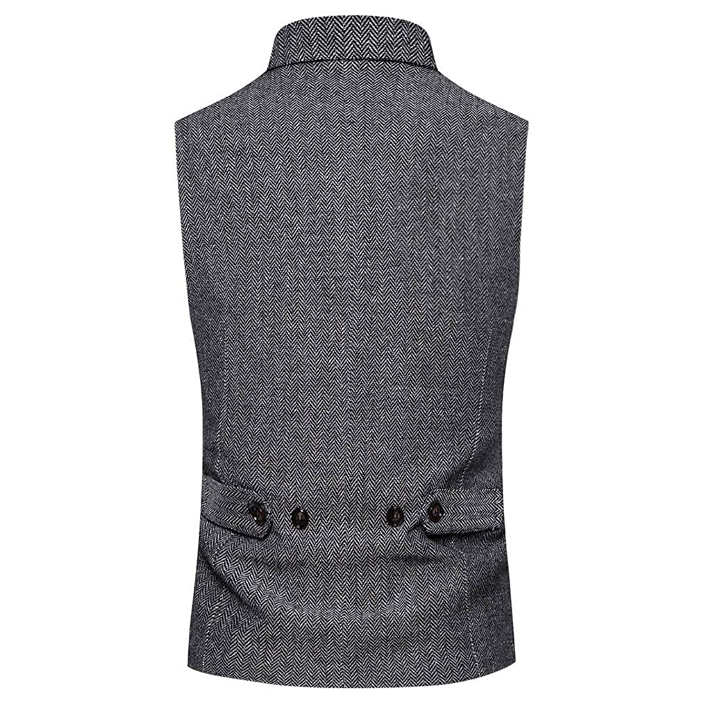 Men Tweed Check Suit Waistcoat Double-Breasted Button Front Tweed Vest Goosun Slim Fit Formal Classic Suit Vest V-Opening with Pockets Multiple Colours
