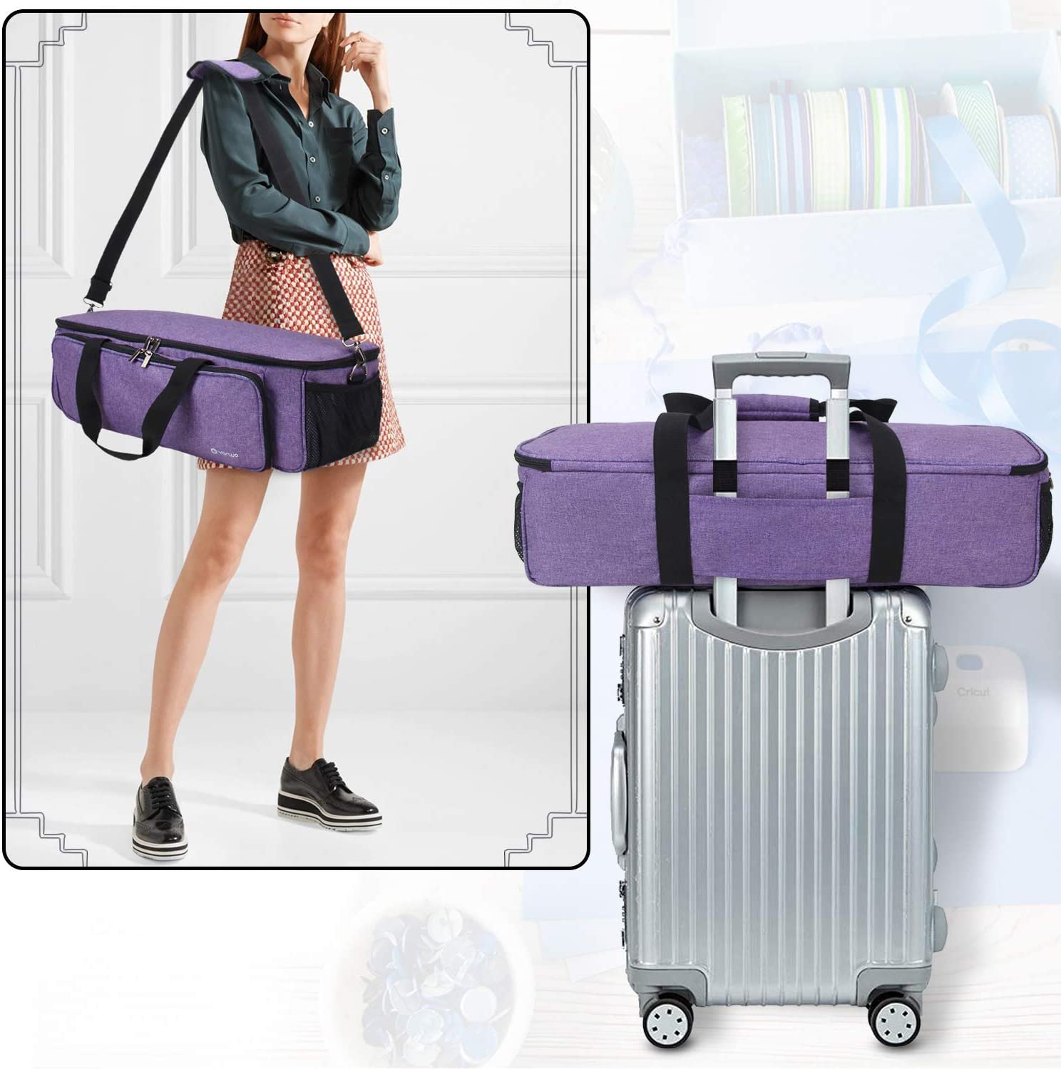 Air 2 Yarwo Carrying Bag for Cricut Explore Air Tote Bag Heavy Duty Nylon Travel Bag Compatible with Cricut Accessories Supplies Bag Only Cricut Maker Silhouette Cameo 3 Purple