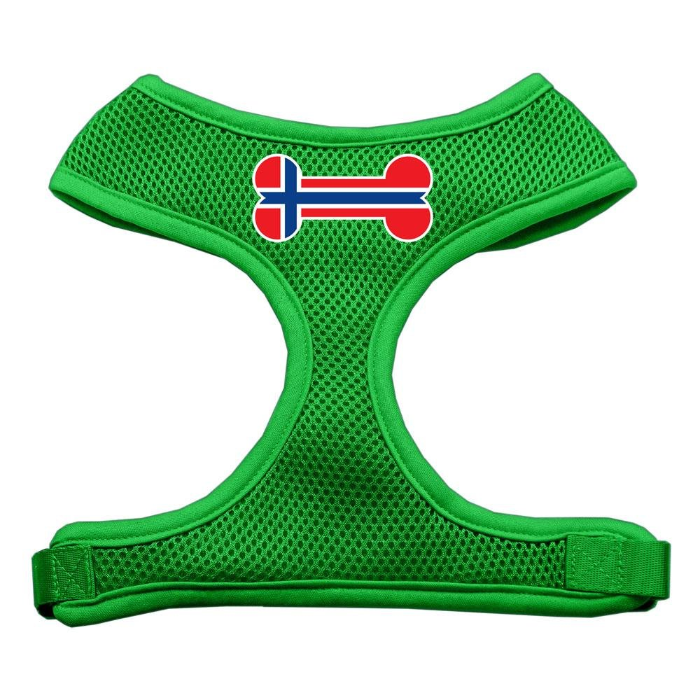Mirage Pet Products Bone Flag Norway Screen Print Soft Mesh Dog Harnesses, Small, Emerald Green