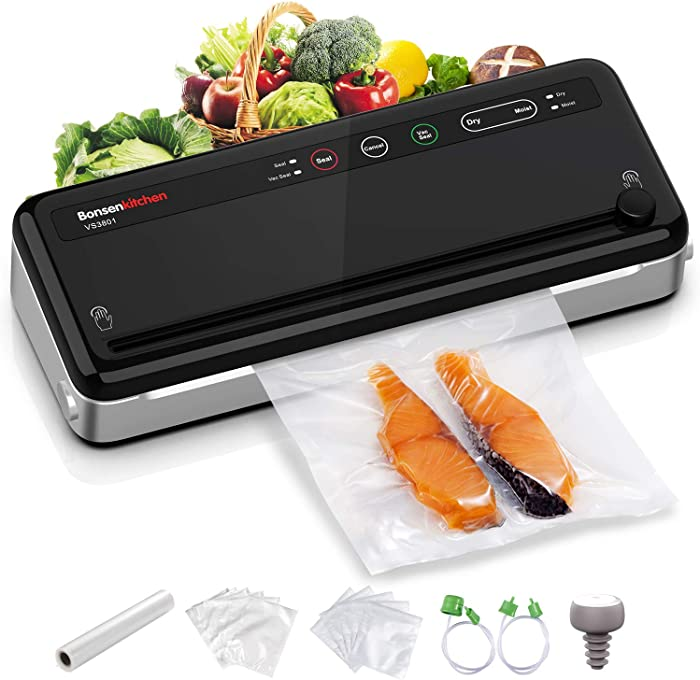 Food Saver Vacuum Sealer Machine For Food, Vaccume Sealer Machine Built in Air Sealing System with Vacuum Sealer Kits, Avoid Dehydration n Freezer Burn, Dry/Moist Model For Sous Vide-Black