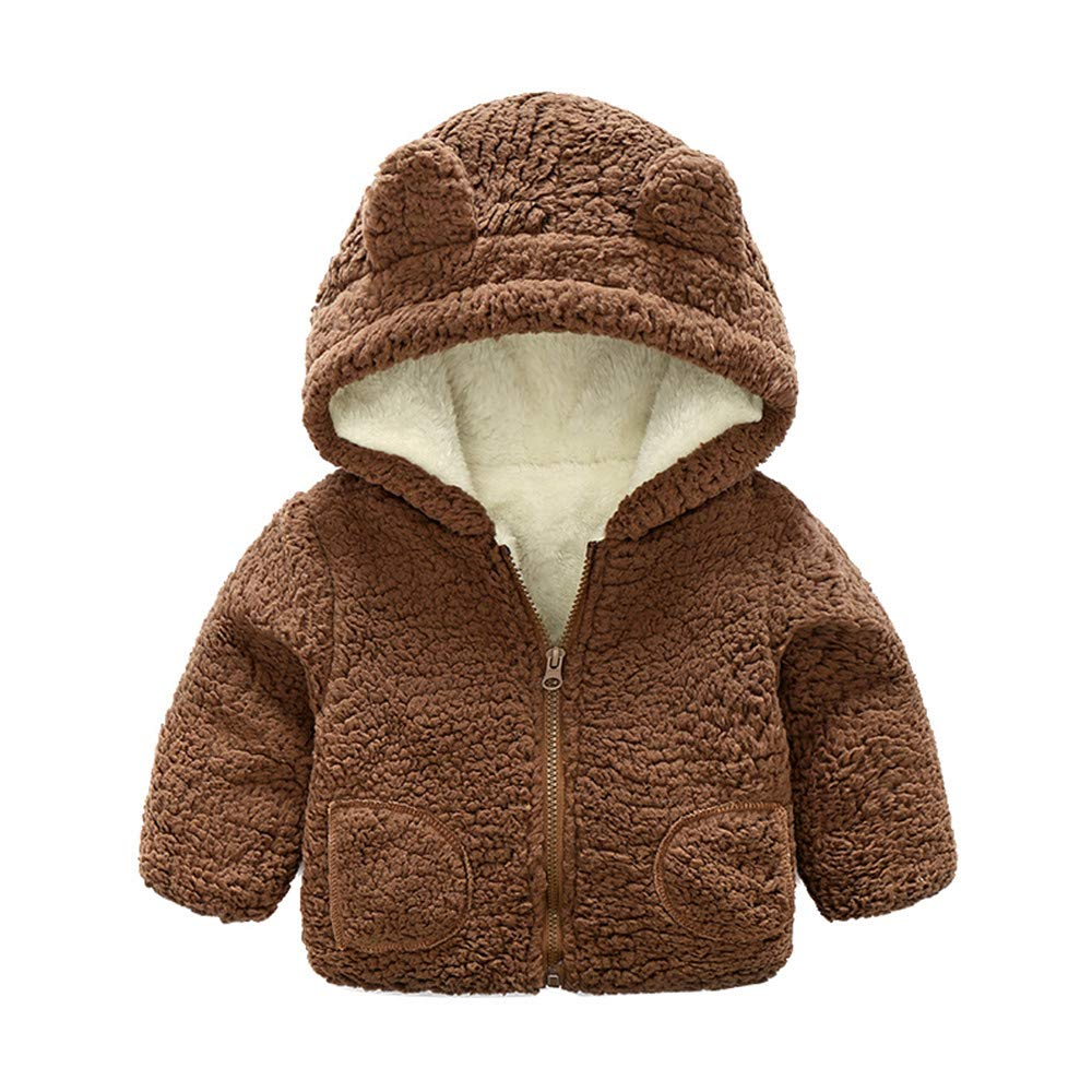 Lonshell_Toddler Clothing Baby Girls Boys Hooded Parka Jacket Long Sleeve Warm Fleece Outerwear 6-24 Months Baby Cashmere Winter Jacket Zipper Hooded Coat Cloak Jacket Thick Warm Cloth
