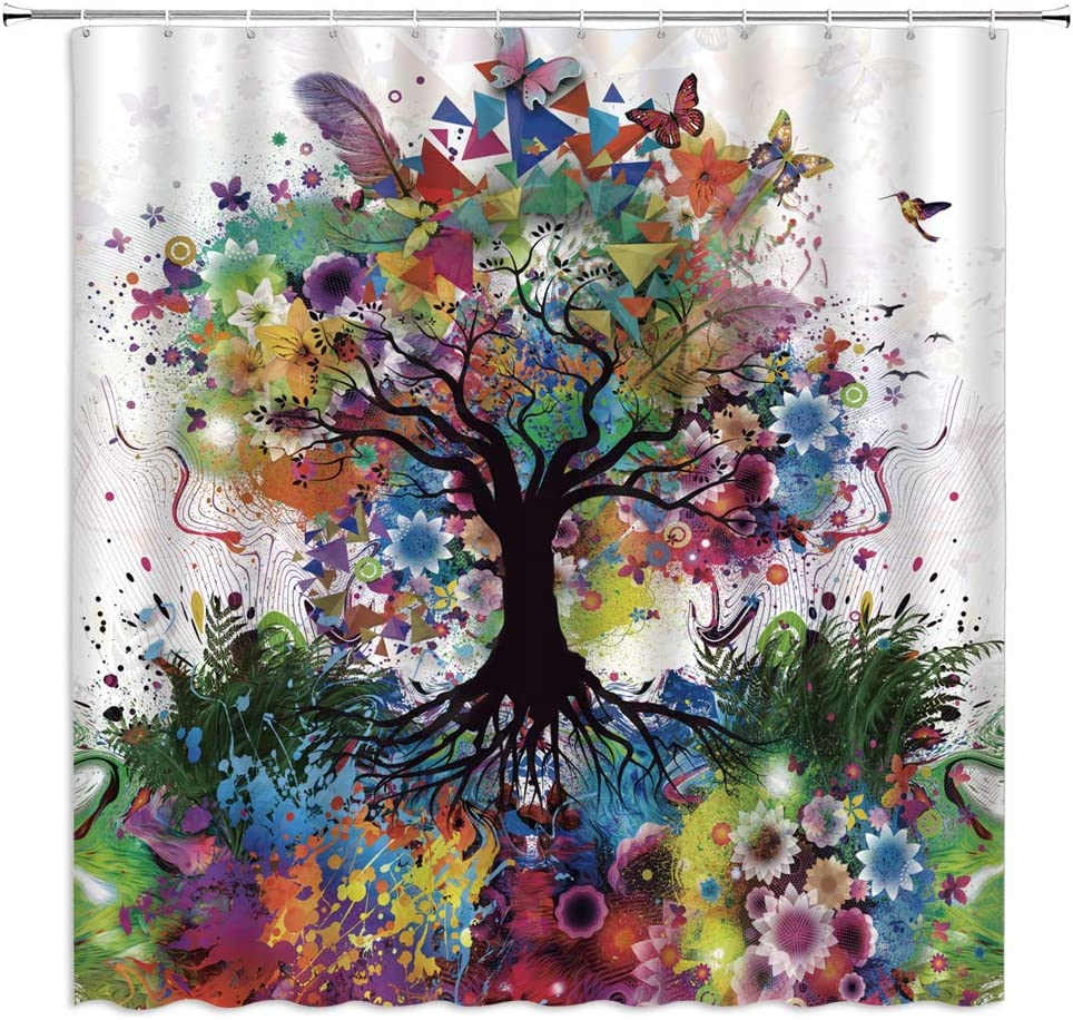Jingjiji Colourful Tree Shower Curtain Color Bursting Tree of Life Theme Spring Fantastic Fairy Forest Flower Butterfly Pastoral Branch Ink Jet Bathroom Decor Curtains (Colorful, 70 x 70 Inch)