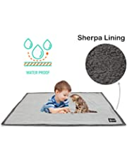 (Lt Gray/Dk Gray) - Waterproof Dog Blanket,Premium Pet Puppy Cat Fleece Sherpa Throws Cushion Mat for Car Seat Furniture Protector Cover Small 130cm x 80cm by Pawsse