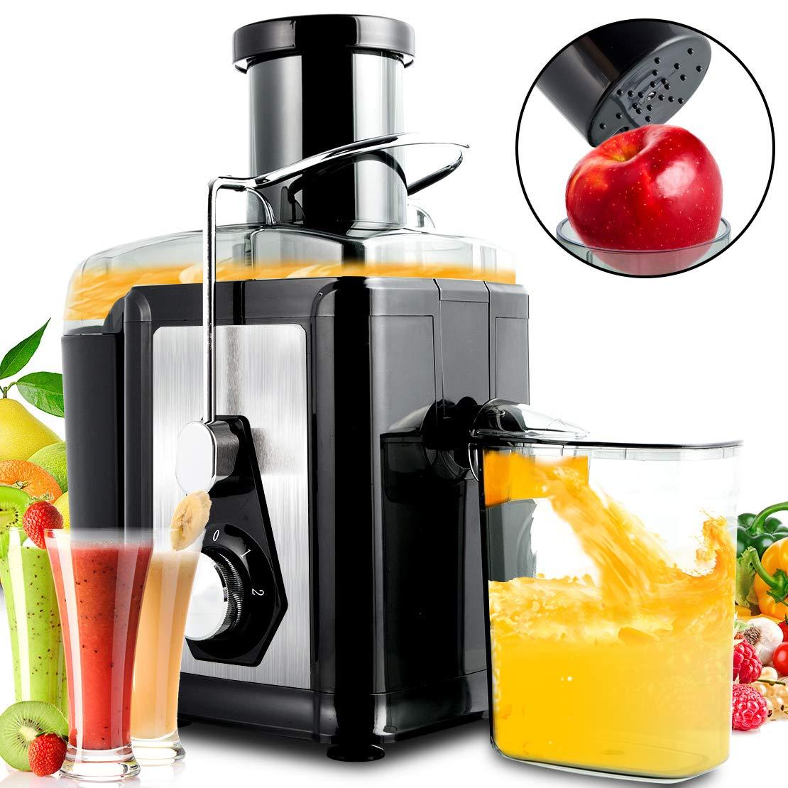 Slow Juice Machine,Centrifugal Masticating Juice Extractor Stainless Steel,Fruit and Vegetable Juicer with Safe Lock and Easy to Clean 700 watt 220V