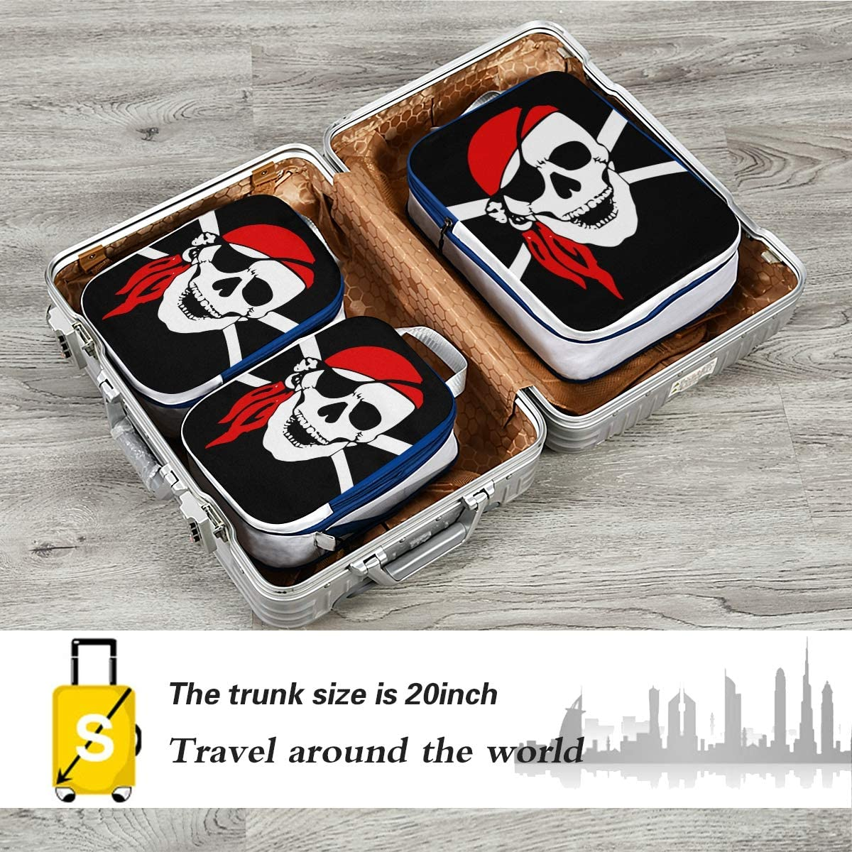 Skull With Red Cap 3 Set Packing Cubes,2 Various Sizes Travel Luggage Packing Organizers q
