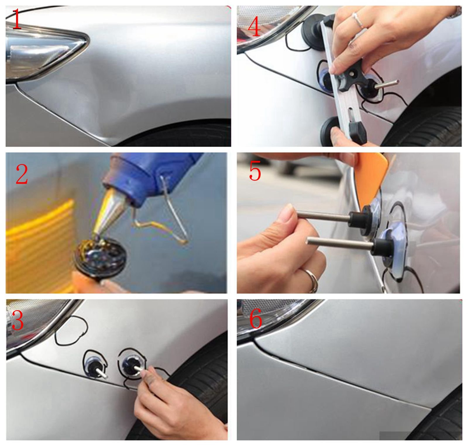 Super PDR 68pcs Auto Body Paintless Dent Removal Repair Tools Kits Dent Lifter Slide Hammer Pro Tabs Tap Down LED Reflector Board with Tool Bag by Super PDR (Image #7)