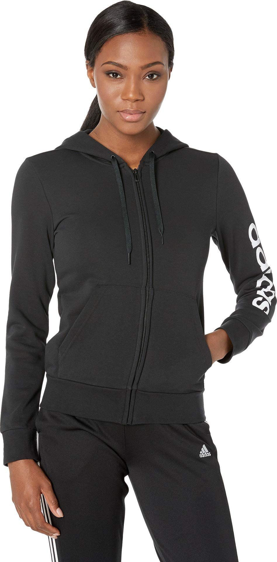 adidas Women's Essentials Linear Full-zip Hoodie, Black/White, X-Large by adidas