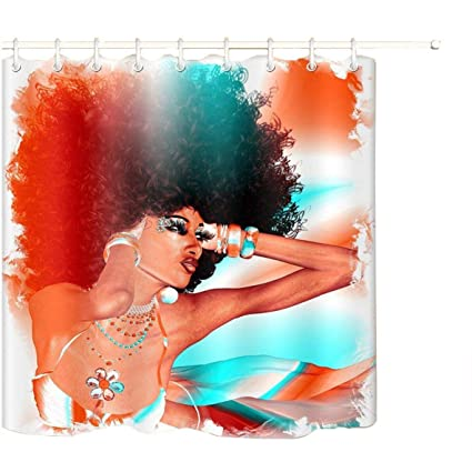 LB Afro African Woman Shower CurtainSexy Black 3D Digital Printing Polyester Fabric Mildew