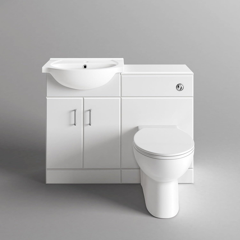 White gloss bathroom furniture - Quartz 1048 Mm White Gloss Vanity Unit Round Toilet Bathroom Sink Storage Furniture Ibathuk Amazon Co Uk Kitchen Home