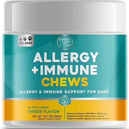 Ready Pet Go Allergy Immune Supplement for Dogs – with Omega 3 for Dogs Probiotics for Dogs – Anti Itch Hot Spots Dog Allergy Relief