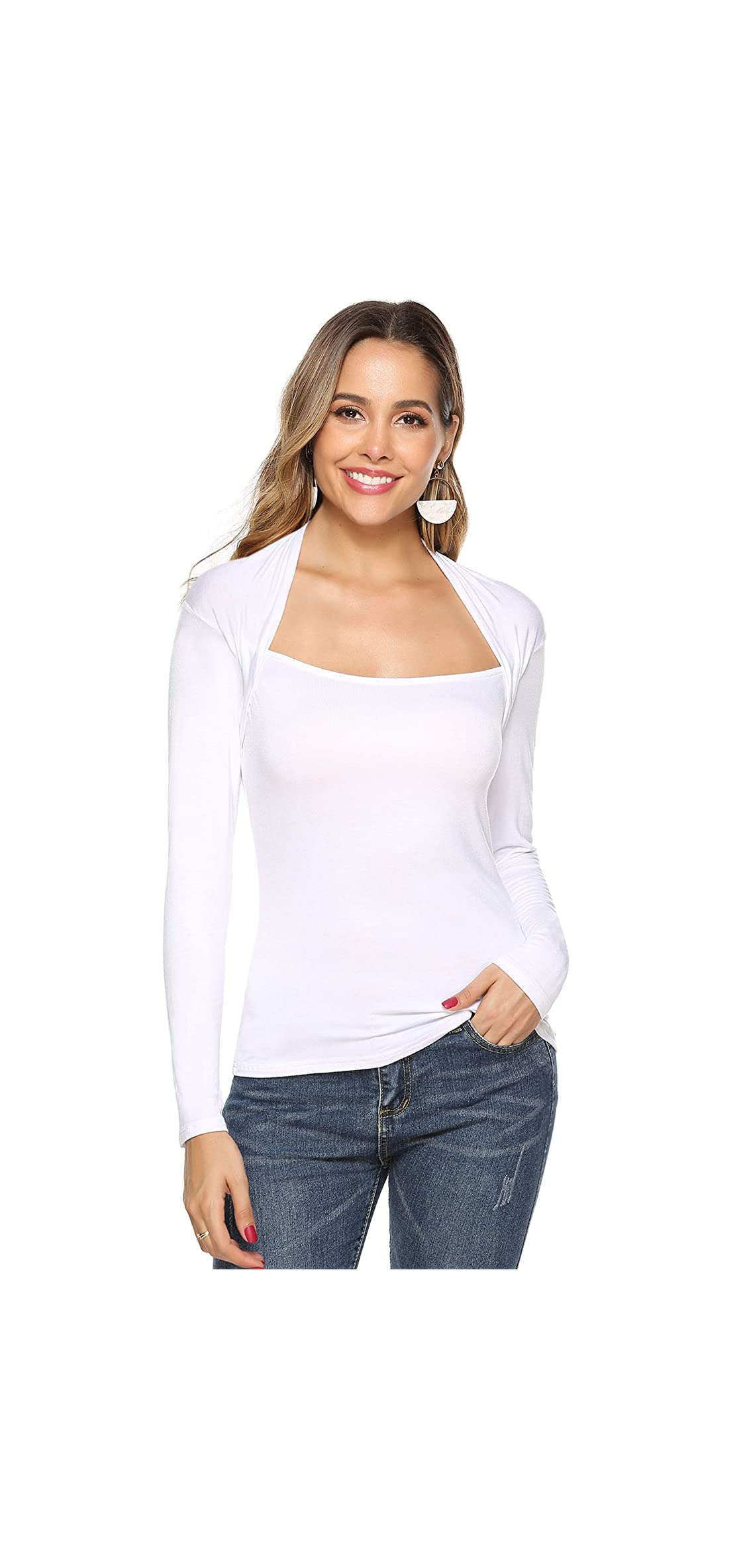 Women's Long Sleeve Boat Neck Casual Tops Slim Fit Solid