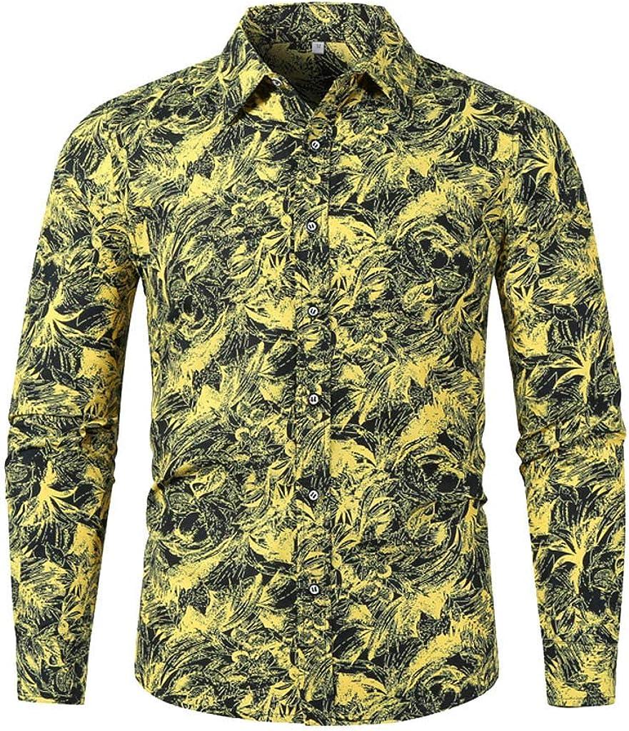 Mens Vintage Shirt,RNTOP Mens Ethnic Printed Button Down Collar Long Sleeve Beach Shirts Party Club Top