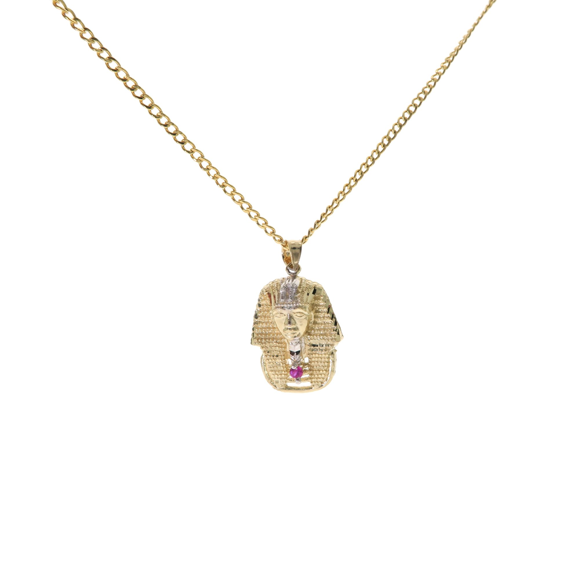 Genuine Stamped 10K Yellow Gold Cuban Curb Link Chain Small Charm Pendant Necklace [ASSORTED SETS] (Pharaoh King Tut + 20 Inches Necklace)