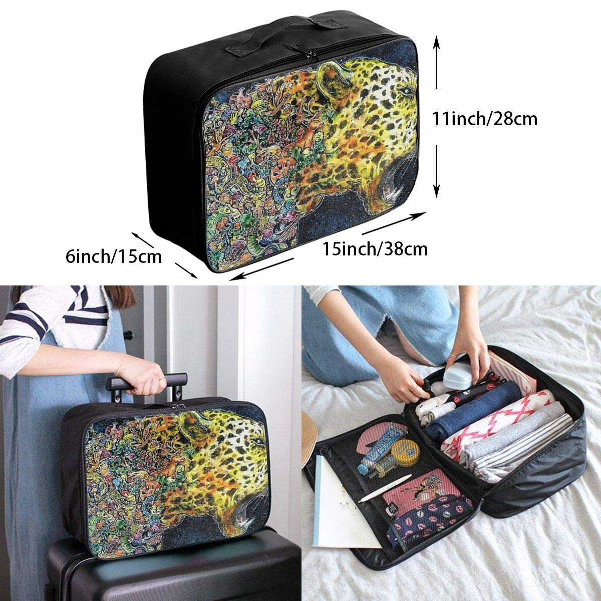 Roaring Colorful Cheetah Travel Lightweight Waterproof Folding Storage Portable Luggage Duffle Tote Bag Large Capacity In Trolley Handle Bags 6x11x15 Inch