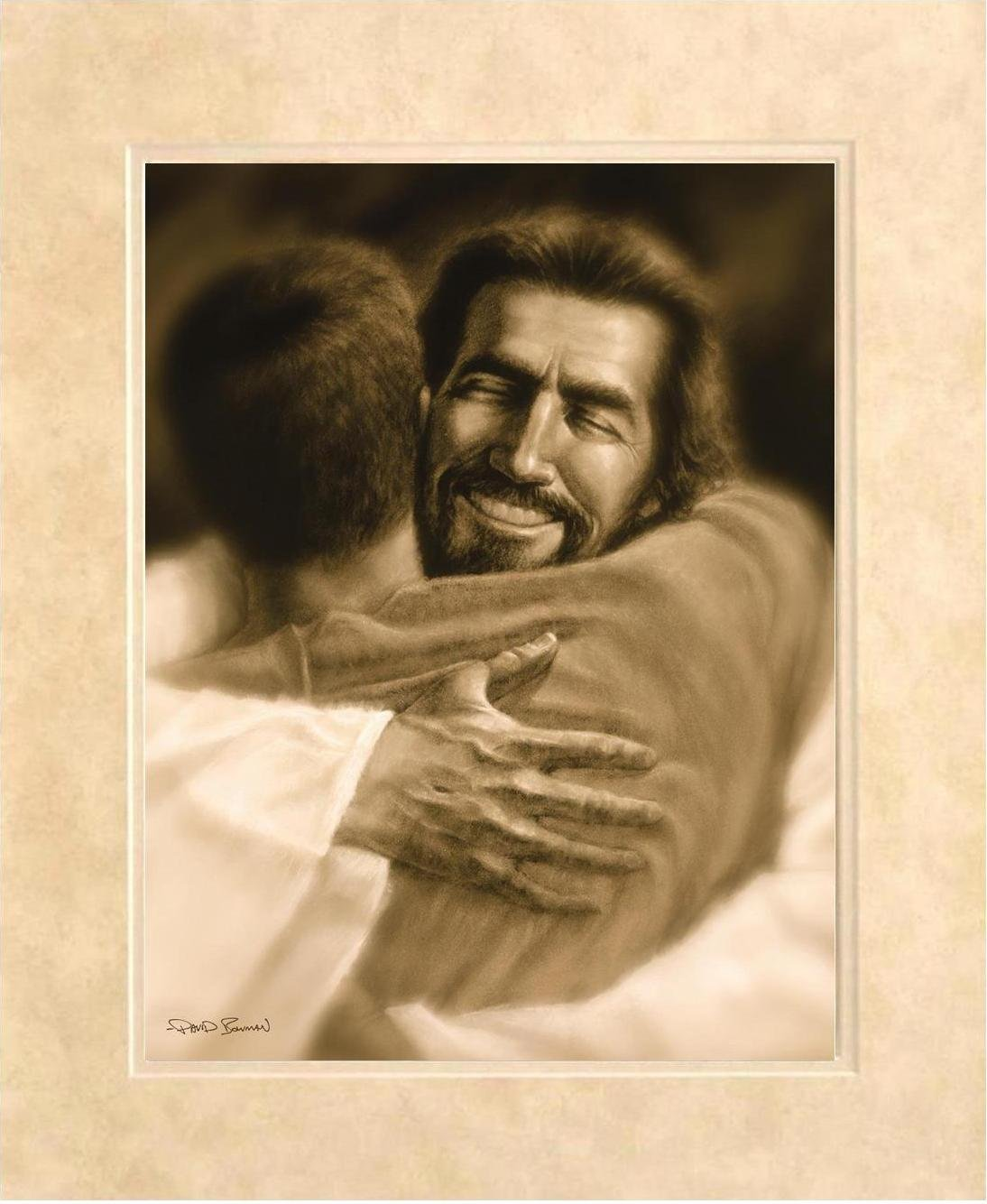 Home – Wall Art Print Jesus Christ Welcome Home Hug by David Bowman Religious Spiritual Christian Fine Art 21 x25 Framed