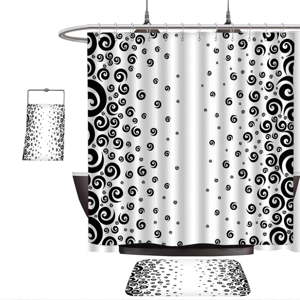 QINYAN-Home Print Bathroom Rugs Shower Curtain Black and White Abstract Design Art Style Graphic Ornamental Twirled Circular Pattern Black and White. Rug& Shower Curtain Bath Towel(Ten Sizes Select)