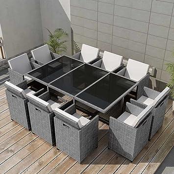 Festnight Set de Comedor Muebles de Ratán para Jardín Gris 31 Piezas ...