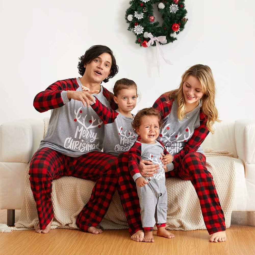 Yaffi Matching Family Pajamas Set Sleepwear PJs Merry Christmas Deer Printed Long Sleeve Top with Plaid Pants Loungewear