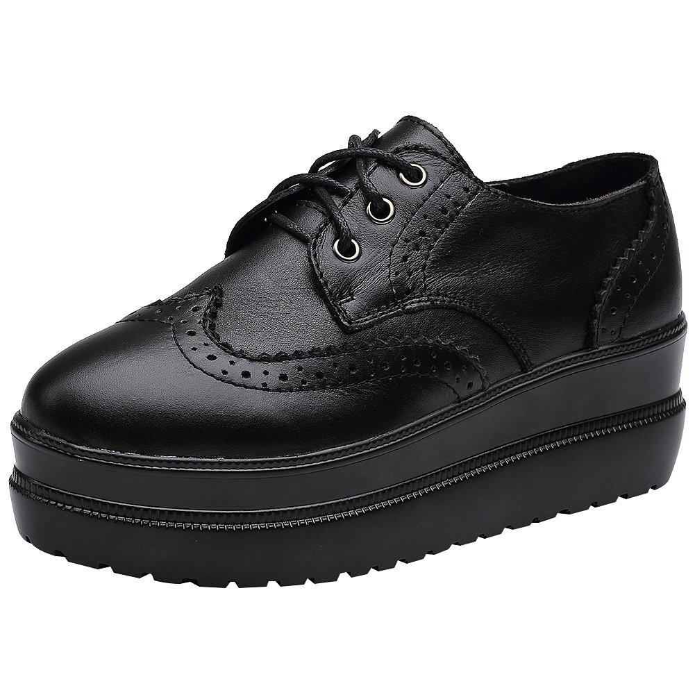 rismart Damen Brogue Design Keil Modisch Rein Schwarz Leder Schuhe Sneaker SN02719(Schwarz,EU37)