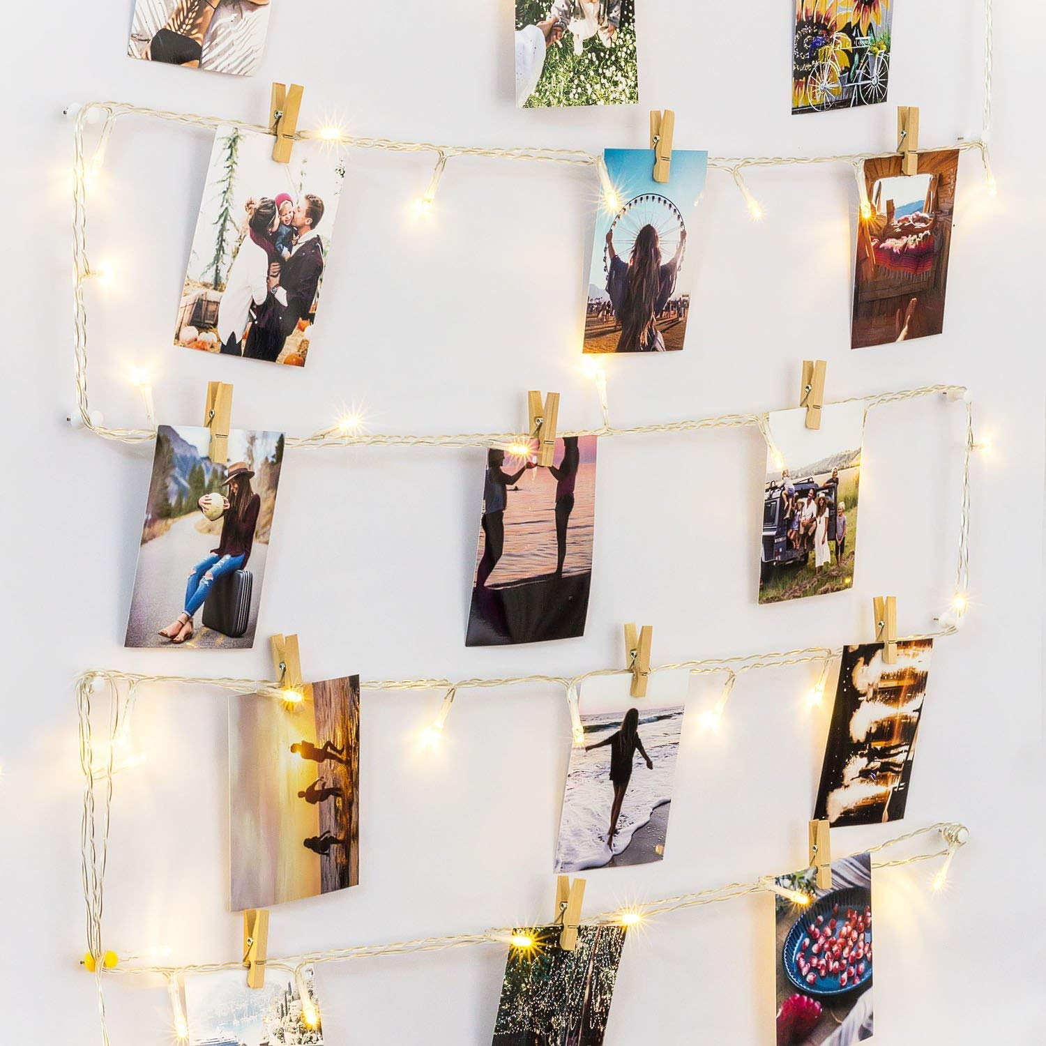 HAYATA [Remote & Timer] 40 LED Wooden Photo Clips String Light Picture Display - 30ft Fairy Battery Operated Hanging Picture Frame for Party Wedding Dorm Bedroom Birthday Christmas Decorations