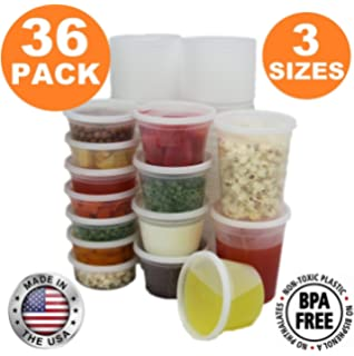 Food Storage Containers With Lids, Round Plastic Deli Cups, US Made, 8,