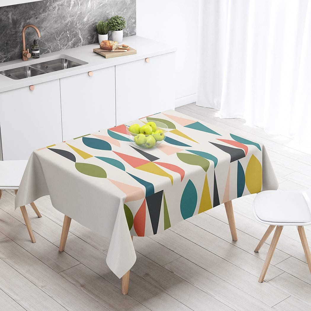 Shenywell Tablecloth Mid Century Modern 1950S Abstract 1960S Colors Fashion Fifties 60 X 102 Inch Rectangular Table Cloth Polyester Fabric Durable Environmentally Outdoor Party Picnic