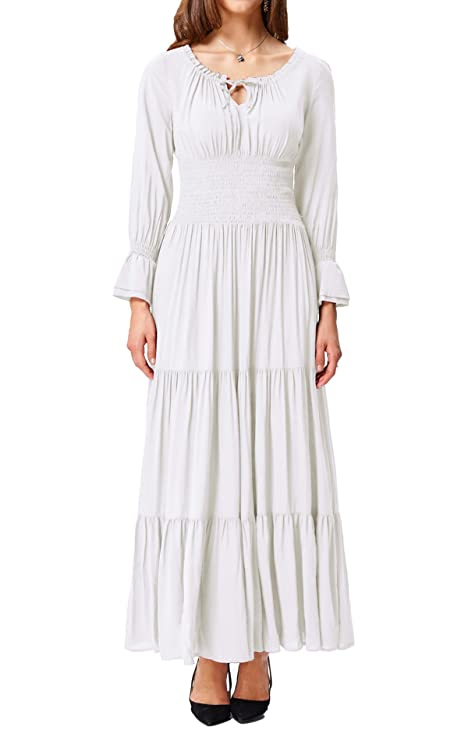 Belle Poque Renaissance Peasant Maiden Boho Long Sleeve Maxi Dress for Wedding Wine Size M BP225-2