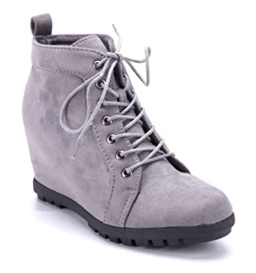 Schuhtempel24 Damen Schuhe Keilstiefeletten Stiefel Stiefeletten Boots grau  Keilabsatz 9 cm bde0c13b26