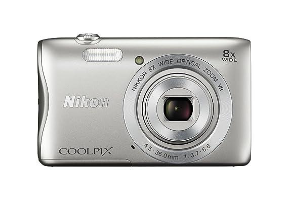 Nikon Coolpix S3700 - Cámara con WiFi, Incluye Tarjeta SD de 4 GB, Color Plateado