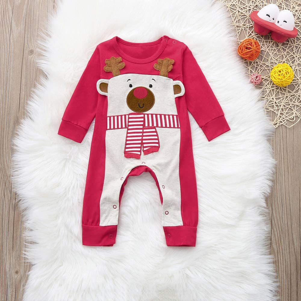 Palarn Baby Clothes Infant Baby Christmas Long Sleeve Fawn Print Striped Jumpsuit Romper Outfit