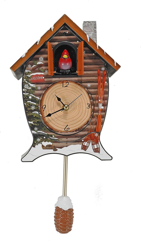 Mark Feldstein Snowy Cabin Singing Cardinal Tabletop Wall Sound Cuckoo Clock 71x6YA5fWVLSL1500_