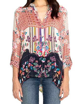 a782fd4d Johnny Was Women's Oversized Patterned Silk Button Up with Collar, at Amazon  Women's Clothing store: