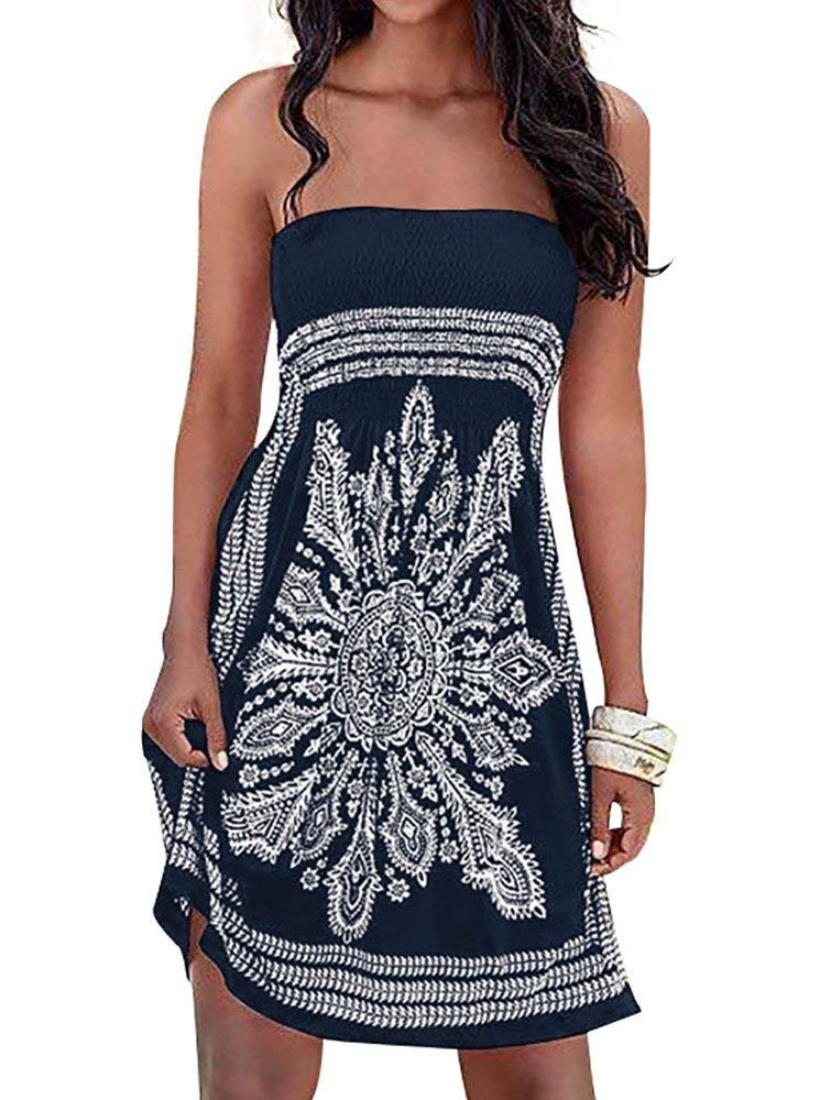 Inital Women's Dress Bathing Suit Coverup Floral Print Bohemian Beach Dress (Large, Navy-1)