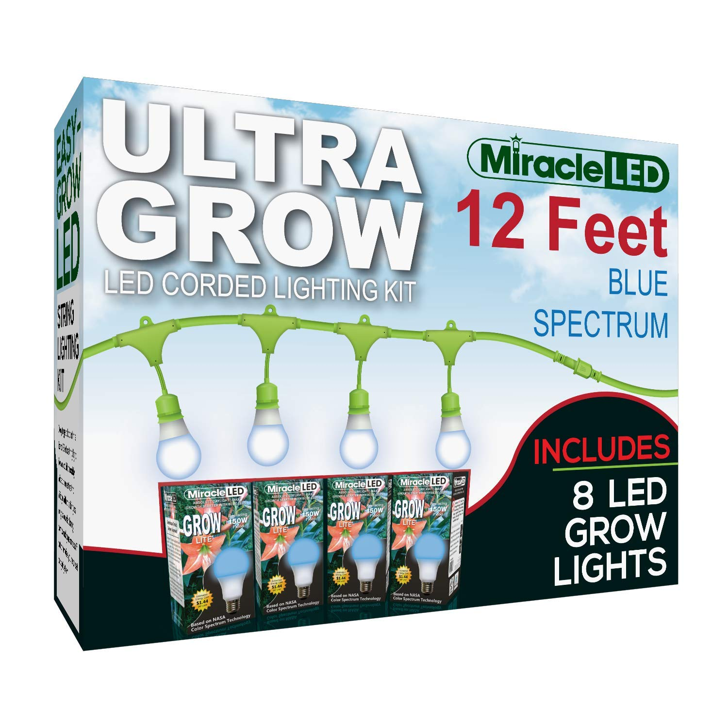 MiracleLED 602636 8-Socket 12ft Corded System Kit with Blue Spectrum Ultra Grow Lights Replacing 1000W High Pressure Sodium/Halide Bulbs,
