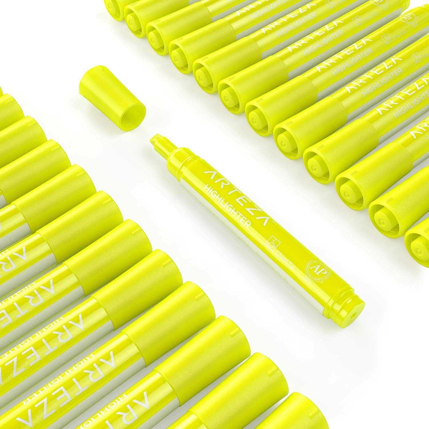 Arteza Highlighters Set of 64, Yellow Color, Wide Chisel Tips, Bulk Pack of Markers, for Office, School, Kids & Adults by ARTEZA (Image #2)