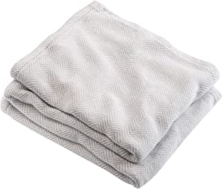 product image for Brahms Mount White Oyster Herringbone Penobscot Cotton Blanket King Size