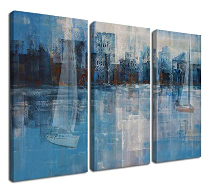 Ardemy Abstract Canvas Wall Art Prints Modern Blue Tones Cityscape Coastal  Sail Boat Pictures Artwork 3