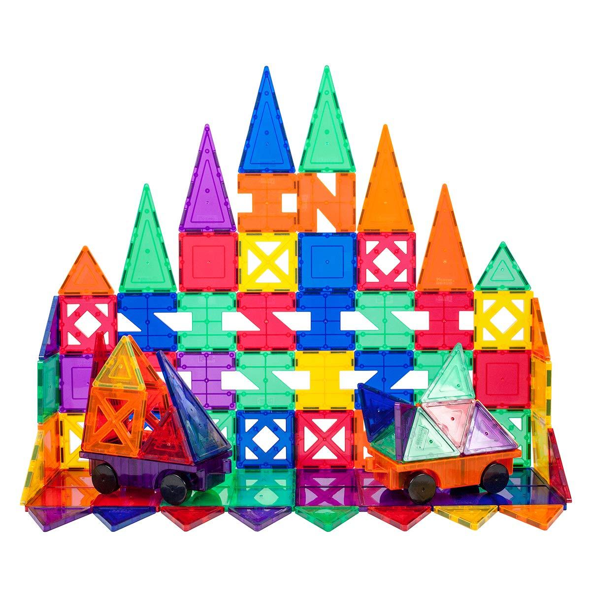 PicassoTiles PT82 Creativity Set Magnet Building Tiles Clear Color Magnetic 3D Building Block - Creativity Beyond Imagination! Educational, Inspirational, Conventional, Recreational by PicassoTiles