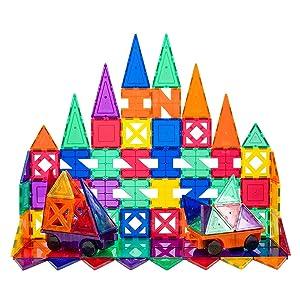 PicassoTiles PT82 Creativity Set Magnet Building Tiles Clear Color Magnetic 3D Building Block - Creativity Beyond Imagination! Educational, Inspirational, Conventional, Recreational