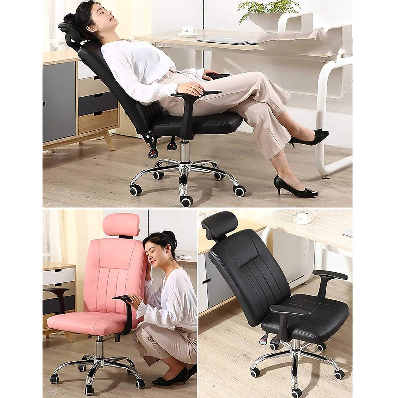 GAOPANG Ergonomisk hög rygg kontorsstol dator skrivbordsstol med fem stjärnor stålfotstativ och tyst Caster, sitthöjd: 43-53 cm Svart