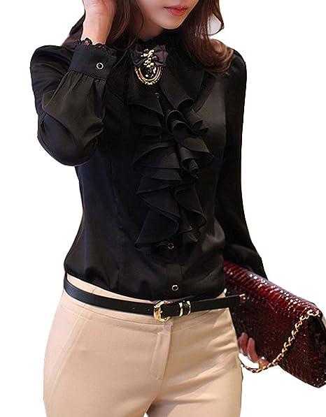 Bininbox - Blusa de encaje, diseño a la moda, chic y elegante negro