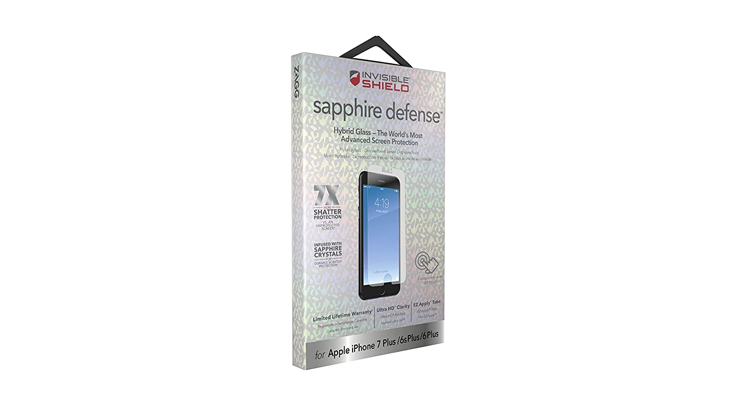 half off 3cac9 d72d1 ZAGG InvisibleShield Sapphire Defense – Hybrid Glass Screen Protector for  Apple iPhone 8 Plus, iPhone 7 Plus, iPhone 6s Plus, iPhone 6 Plus