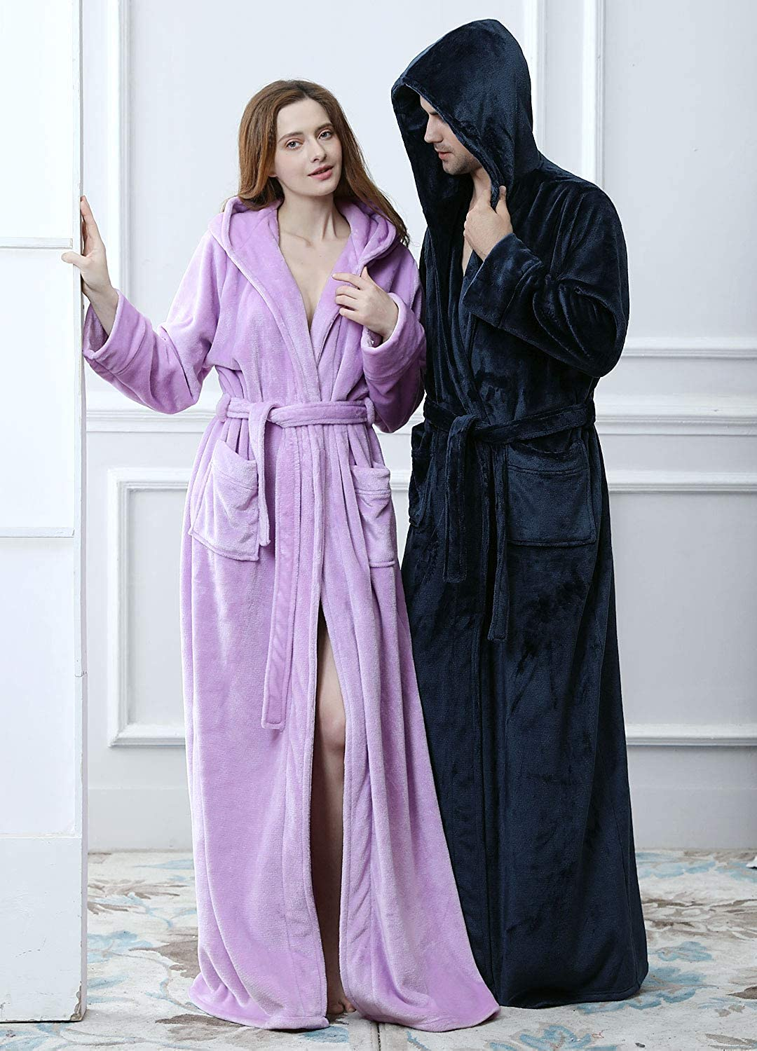Women Winter Fleece Dressing Gown with Hood Fluffy Long Night Gown Purple  Red Blue Beige Ladies Luxury Towelling Bathrobe Full Length Spa Robe M L XL  ... 236dcade8