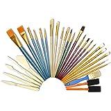 Artina® 30er Pinsel-Set - diverse Pinselarten mit Malmessern - ideal für alle Bereiche der Kunst und Malerei